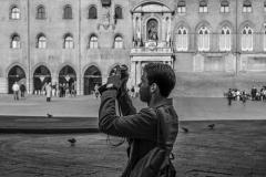Tourist Photographer Major Square Bologna Italy