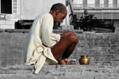 Prayer Man in Varanasi Uttar Pradesh India