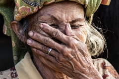 Hand Hide Face Sulawesi Indonesia