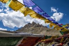 Prayer Flags with Mountain Landscape Ladakh India