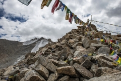 Prayer Flags in Highest Himalayan Peaks Khardung La Pass Ladakh India