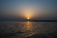 Sunset on Ganges Landscape Varanasi Uttar Pradesh India