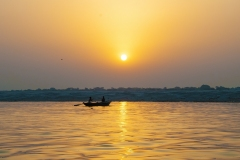 Sunset Boat Ganges Landscape in Varanasi Uttar Pradesh India