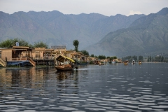 House Boat Dal Lake Landscape Srinagar Kashmir India