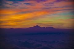 Volcanoes Sunset Landscape Java Indonesia