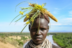 Karo Woman with Traditional Head Ornament Omo Valley Ethiopia