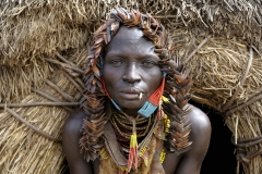 Karo Woman with Insect Wings Headdress Omo Valley Ethiopia