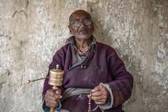 Tibetan Old Man Prayer Lamayuru Monastry
