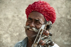Musician Man Play Sitar Guitar Jaisalmer Rajasthan India