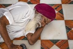 Sikh Man Sleeping Golden Temple Amristar Punjab India