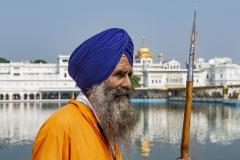 Sikh Warrior Golden Temple Amristar Punjab India