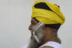 Sikh Man with Kirpan Golden Temple Amristar Punjab India