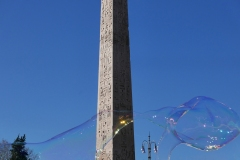 Obelisk and Soap Bubbles People Square Rome Italy
