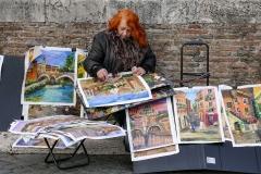 Painter in Trastevere Rome Italy
