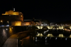 Sant'Angelo Castel Night Landscape from Tevere Riverside Rome Italy