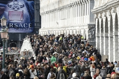 Crowd of People Venice Carnival Italy