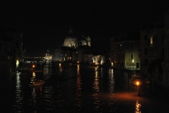 Giudecca Canal by Night from Constitution Bridge Venice Italy