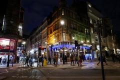 Corner Walking by Night London England