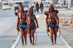 Himba Walking in Opuwo Kunene Region Namibia