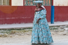 Herero Woman Wlking in Otjinene Omaheke Region Namibia