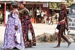 Hereo and Himba Women Wlking in Ongwediva Oshana Region Namibia