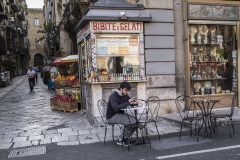 Street Life in front of Square of the Seven Angels Palermo Italy