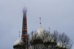 Tour Eiffel and Orthodox Church View Paris France