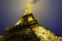 Tour Eiffel Silhouette with Light by Night Paris France