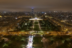 Parc du Champ de Mars Night Landscape from top of Tour Eiffel Paris France