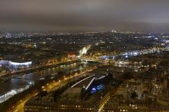 La Seine Night Landscape from top of Tour Eiffel Paris France