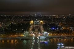 Trocadéro Night Landscape from top of Tour Eiffel Paris France