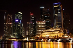 Singapore City Night Landscape at Marina Bay