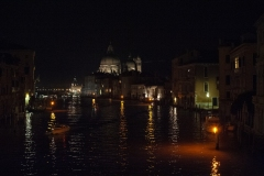 Giudecca Canal by Night from Constitution Bridge Landscape Venice Italy
